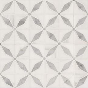 MS International Specialty Shapes Wall Series: Bianco Starlite Polished Pattern Marble Tile SMOT-BIANDOL-STARP