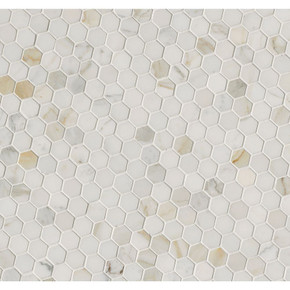 MS International Specialty Shapes Wall Series: Calacatta Gold Hexagon 1x1 Polished Marble Mosaic SMOT-CALAGOLD-1HEX