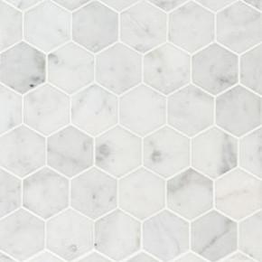 MS International Specialty Shapes Wall Series: Carrara White 2X2 Hexagon Honed Mosaic SMOT-CAR-2HEXH