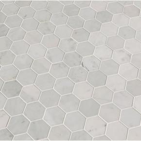 MS International Specialty Shapes Wall Series: Carrara White 2x2 Hexagon Polished Mosaic Tile SMOT-CAR-2HEXP