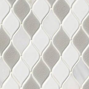 MS International Specialty Shapes Wall Series: Cresta Blanco 8mm Pattern Porcelain Mosaic Tile SMOT-SP-CREBLA8MM