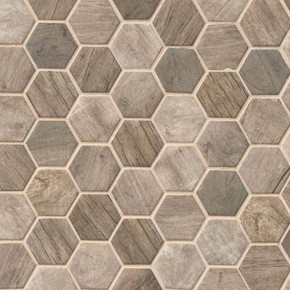 MS International Specialty Shapes Wall Series: Driftwood Hexagon Pattern Recycled Glass Mosaic Tile SMOT-GLS-DRIFT6MM