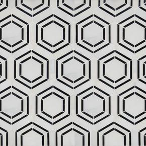 MS International Specialty Shapes Wall Series: Georama Nero Pattern Polished Marble Mosaic Tile SMOT-GEORAMA-NEROP
