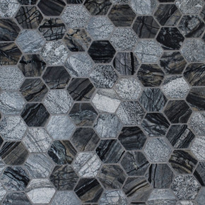 MS International Specialty Shapes Wall Series: Henley 2x2 Hexagon Multi Finish Mosaic Tile SMOT-HENLEY-2HEX