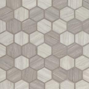 MS International Specialty Shapes Wall Series: Silva Oak 2X2 Hexagon Recycled Glass Mosaic Tile SMOT-GLS-SILVA6MM