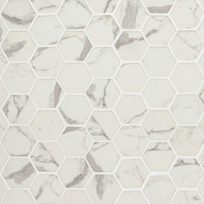 MS International Specialty Shapes Wall Series: Statuario Celano 2X2 Hexagon Recycled Glass Mosaic Tile SMOT-GLS-STACEL6MM