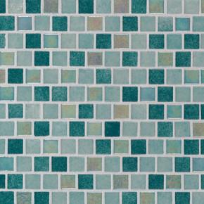 MS International Glass Tile Series: Carribean Jade 1X1 Staggered Glass Pool TIle SMOT-GLSB-CARJAD4MM