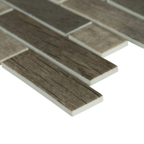 MS International Glass Tile Series: Driftwood Interlocking Pattern Recycled Glass Mosaic Tile SMOT-GLSIL-DRIFT6MM