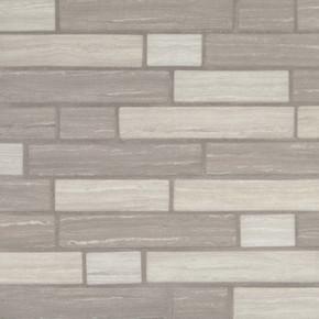 MS International Glass Tile Series: Silva Oak Interlocking Pattern Recycled Glass Mosaic Tile SMOT-GLSIL-SILVA6MM