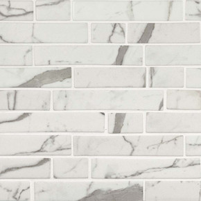 MS International Glass Tile Series: Statuario Celano Interlocking Pattern Recycled Glass Mosaic Tile SMOT-GLSIL-STACEL6MM