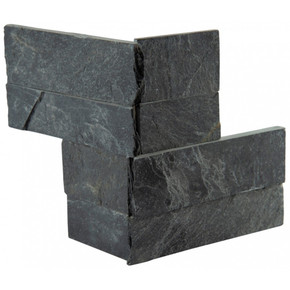 MS International Stacked Stone Series: Premium Black 4.5x9 Split Face Mini Corner Ledger Panel LPNLSPREBLK4.59COR-MINI