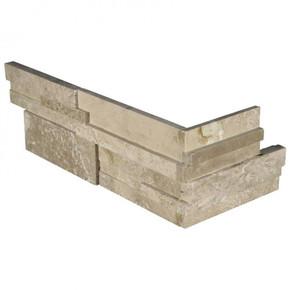 MS International Stacked Stone Series: Durango Cream 6X12X6 3D Honed Corner Ledger Panel LPNLTDURCRE618COR-3DH
