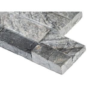MS International Stacked Stone Series: Glacial Black 6X12X6 Split Face Corner Ledger Panel LPNLMGLABLK618COR