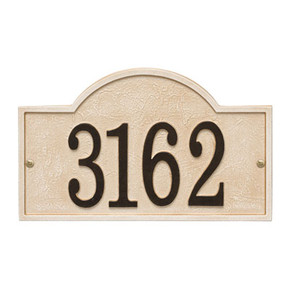 Whitehall Stonework Arch House Numbers Plaque, Standard Wall 1-line