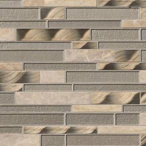 MS International Glass Stone Metal Series: 12x12 Champagne Toast Interlocking Wall Tile SMOT-SGLSMTIL-CHATST4MM