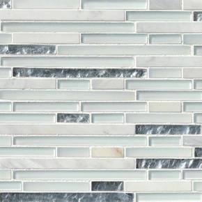 MS International Stone Glass Blend Series: Cristallo Interlocking Pattern Glass Mosaic Wall Tile SMOT-SGLSIL-CRIS8MM