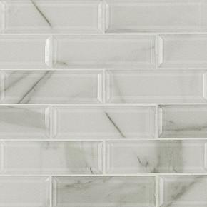 MS International Glass Series: 2x6 Ivory Amber Beveled Glass Subway Wall Tile SMOT-GLSST-IVOAMB8MM