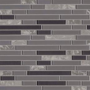 MS International Stone Glass Blend Series: 4mm Lorena Grigio Interlocking Mosaic Wall Tile SMOT-SGLSIL-LORGRI4MM