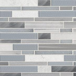 MS International Glass Stone Metal Series: 8mm Harlow Interlocking Backsplash Wall Tile SMOT-SGLSMTIL-HAR8MM