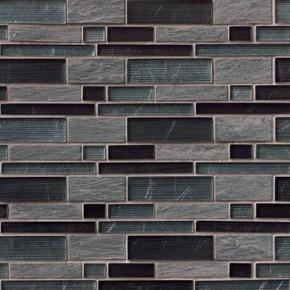 MS International Stone Glass Blend Series: Perspective Blend Interlocking Pat Wall Tile SMOT-SGLSIL-PER8MM