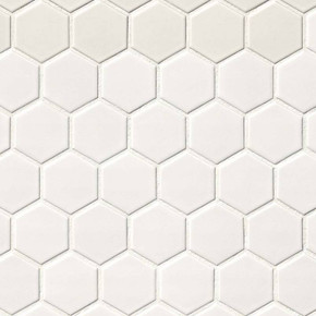 MS International Porcelain Series: 2x2 White Matte Hexagon Mosaic Wall Tile SMOT-PT-RETBIA-2HEX