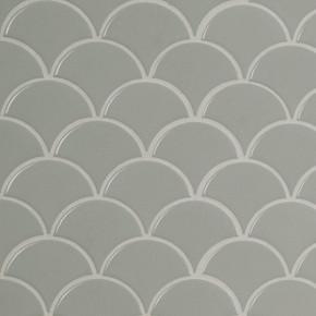 MS International Porcelain Series: Gray Glossy Fish Scale Mosaic Wall Tile SMOT-PT-RETGRA-SCALOP