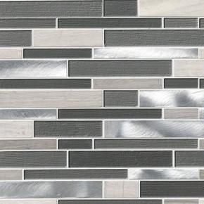 MS International Glass Stone Metal Series: Urban Loft Interlocking Glass & Metal Wall Tile SMOT-SGLSMTIL-URBLOF4MM