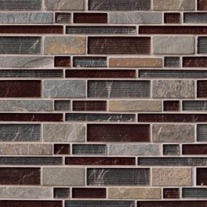 MS International Stone Glass Blend Series: Urbano Blend Interlocking Pattern Wall Tile SMOT-SGLSIL-URB8MM
