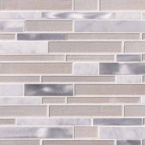 MS International Glass Stone Metal Series: 4mm White Wave Interlocking Wall Tile SMOT-SGLSMTIL-WHTWA4MM