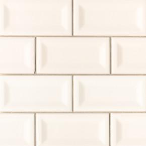 MS International Ceramic Series: 3x6 Almond Glossy Inverted Beveled Wall Tile NALMGLO3X6INVBEV-N