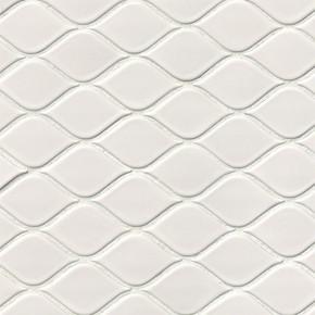 MS International Porcelain Series: Domino White Tear Drop Glossy Mosaic Wall Tile NWHITEARDROG