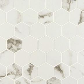 MS International Porcelain Series: 2x2 Statuario Matte Hexagon Mosaic Tile NSTA2X2-N