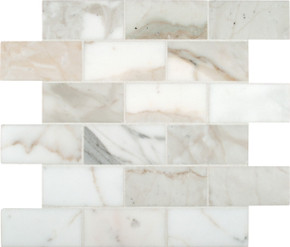 """MSI Calacatta Gold Mounted 4"""" x 2"""" Marble Mesh Polished Mosaic in White"""