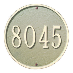 """This round plaque may be ordered with either text or numbers. Available in a Wall Mount only. Each plaque is crafted from rust-free recycled aluminum, with paints that have been specially formulated to withstand the harshest elements. Mounting hardware is included. Holds up to five 3"""" characters. Dimensions: 9"""" x 9"""""""