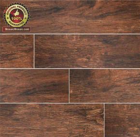 "MS International Ink Jet Wood Series: Redwood Mahogany 6"" x 24"" Porcelain Tile NREDWMAH6X24"