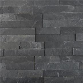 MS International Stacked Stone Series: Premium Black 6X24 Split Face Ledger Panel LPNLSPREBLK624