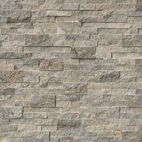 MS International Stacked Stone Series: Silver Travertine 6X24 Split Face Ledger Panel LPNLTSIL624