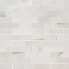 MS International Backsplash Series: Aria Bianco 2X4 Polished Mosaic Subway Tile NARIBIA2X4P
