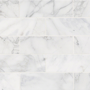 MS International Backsplash Series: 4x12 Calacatta Cressa White Marble Honed Subway Tile TCALCRE412H