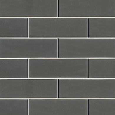 MS International Backsplash Series: Metallic Gray 4x12 Glossy Glass Subway Tile SMOT-GL-T-MEGRBE412