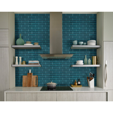 MS International Backsplash Series: Verde Azul 2.5x8 Beveled Glass Subway Tile SMOT-GL-T-VERAZU2.5X8