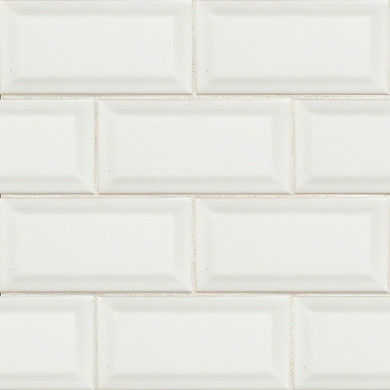 MS International Backsplash Series: Domino White Glossy 3X6 Beveled Tile NWHIGLO3X6BEV