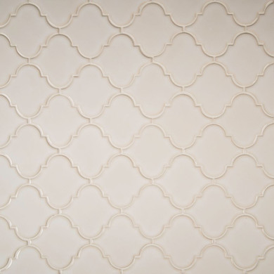 MS International Specialty Shapes Wall Series: Antique White Glossy Arabesque Mosaic Tile SMOT-PT-AW-ARABESQ