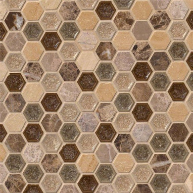 MS International Specialty Shapes Wall Series: Kensington 1x1 Hexagon 8mm Mosaic  Tile SMOT-SGLSGG-KENSINGTN8MM