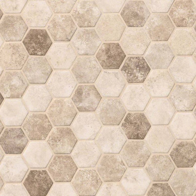 MS International Specialty Shapes Wall Series: Sandhills Hexagon Pattern Recycled Glass Mosaic Tile SMOT-GLS-SAND6MM