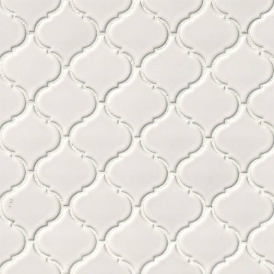 MS International Specialty Shapes Wall Series: Domino White Glossy Arabesque Mosaic Tile NWHIARAG