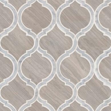 MS International Specialty Shapes Wall Series: White Quarry Savona Polished Geometric Pattern Mosaic Tile SMOT-WQSAV-HON10MM