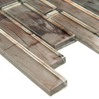 MS International Glass Tile Series: Zirconia Interlocking 12X12 Pattern Glass Mosaic Tile SMOT-GLSIL-ZIRCONIA8MM