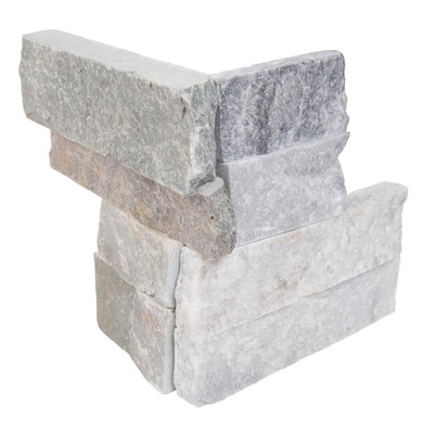 MS International Stacked Stone M-Series: Alaska Gray 4.5X9 Split Face Mini Corner Ledger Panel LPNLMALAGRY4.59COR-MINI