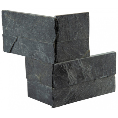 MS International Stacked Stone M-Series: Premium Black 4.5x9 Split Face Mini Corner Ledger Panel LPNLSPREBLK4.59COR-MINI
